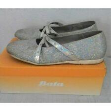 Ballerine scarpe Bata argentate brillantini argento 38