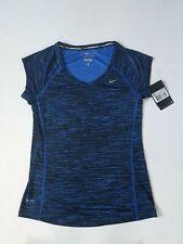 Women's NIKE  Miler dri-fit  V neck top print blue-black color size XS New