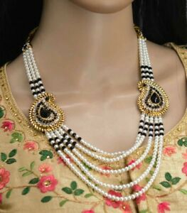 New Design Black Color Necklace Earrings Indian Fashion CZ Pearl Jewelry Set
