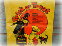 vintage Halloween trick or treat candy bag witch black cat plastic