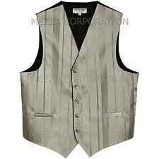 New Men's Tuxedo Vest Waistcoat Stripes only prom wedding formal party Silver