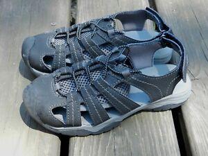 Boys Sz 1 EDDIE BAUER Black Leather Cinch Cord Athletic Chris Sandals Shoes