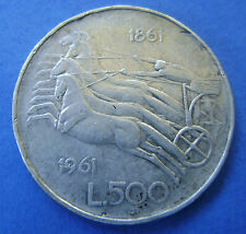 "Italie - 500 lire 1961 ""Italian Unification Centennial""  Silver"