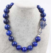 lapis lazuli 18mm round blue leopard clasp necklace 18inch wholesale beads natur