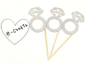 12 x Silver Glitter Diamond Ring Cup Cake Topper Engagement Wedding Hen Do