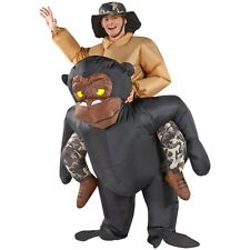 Riding Gorilla Adult Size Fan Inflatable Costume Party Fancy Dress Suit with Hat