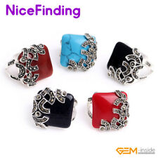 Square Stones Rings Rivet Silver Plated Jewelry Women Men Gift Agate Jade Coral