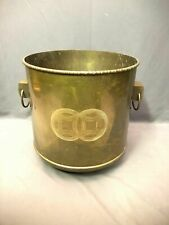 Home Planter D\u00e9cor USED Rustic Brass Collectibles Vintage India Solid Brass and Nickel Plated Swirled Pattern Planter Brass Planters