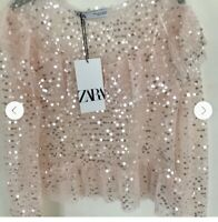 ZARA NEW WOMAN SS19 PINK RUFFLED SEQUINNED TOP REF:9598/135 SALE
