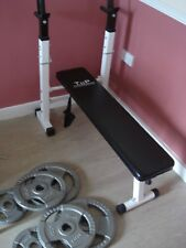 Folding Bench + Bodypower TRI-GRIP Cast Iron Olympic Disc Weights Plates London