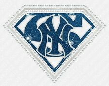 "NFL:  ""Super"" New York Yankees Bling Iron-on Glitter Vinyl Rhinestone Transfer"