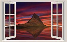 WALL STICKERS ADESIVI MURALI Monte Kirkjufell natura Trompe L'oeil finestra