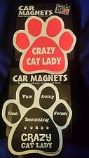 "Crazy Cat Lady Paw  Car Fridge 5.5"" Flexible Magnet Duo Package"
