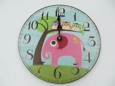 Enfant Mignon Hiboux et Éléphant Animal Horloge Murale