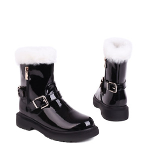 Winter Fashion Ladies Round Toe Warm Faux Leather Ankle Boots Suede White Cute