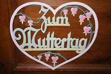 Uraltes großes Muttertagsherz aus geprägter Pappe 34x39cm Pastellfarben Vorkrieg