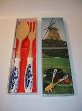 Vintage Elesva Delft Holland Windmills Salad Serving Set Fork & Spoon