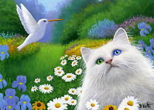 White cat hummingbird summer landscape limited edition aceo print of painting