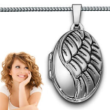 Foto Medaillon oval Engelsflügel Amulett Bilder Anhänger Echt Silber 925 & Kette