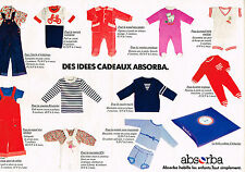 PUBLICITE ADVERTISING 054  1978  ABSORBA  pyjamas sous vetements  enfants (2 pag