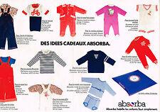 PUBLICITE ADVERTISING 054  1978  ABSORBA  pyjamas sous vetements  enfants (2 pag