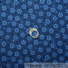 BonEful Fabric FQ Cotton Quilt Blue French Country Flower VTG Dot Leaf Girl Boy