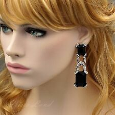 Alloy Black Jet Crystal Rhinestone Chandelier Drop Dangle Earrings 8925 Gunmetal