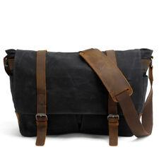 Men's Canvas Waterproof Briefcase Messenger Shoulder Camera Bag Padded