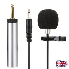 3.5mm Hands Clip on Mini Microphone Wired Line Condenser Lavalier Mic UK