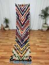 "Vintage Moroccan Handmade Runner Rug Bohemian Berber Rug 2'1""x9'5"" Checkered Rug"