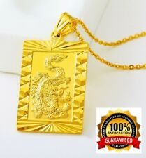 "24k Yellow Gold Dragon Pendant With 30"" Chain Link Necklace +Gift Pouch D451H"