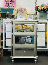 Mirrored Side Table/ Silver- Bevel Mirror with 3 drawers 77H'