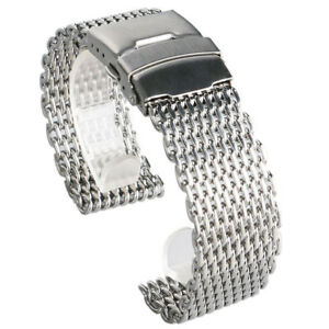 18mm/20mm/22mm/24mm Watch Band Mesh Stainless Steel Strap Wristband Bangle