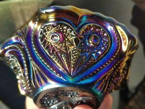 Imperial Carnival Glass Electric Purple Zippered Heart Berry Bowl