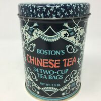 Vintage Boston's Chinese Tea Tin Floral Blue Container Metal Decor Collectible