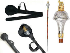 """DRUM MAJOR MACE STAFF STAVE Gold and Chrome With Lion & Crown 60"""" free cover New"""