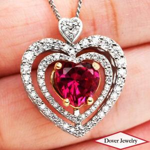 Estate Diamond 1.80ct Synthetic Ruby 18K Gold Lovely Heart Pendant 5.3 Grams NR