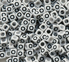 Letter O - 100pc 7mm Alphabet Beads White with Glossy Black Letters
