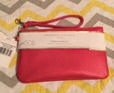 Adrienne Vittadini Metallic Red Pebble Leather Portable Charging Wristlet Wallet