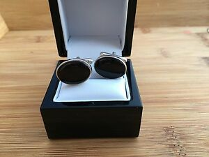 Whitby Jet Solid Silver Gents Cuff Links J832