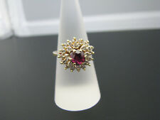 c807 Stunning Vintage Ring in 18k Yellow Gold with Center Ruby and Diamonds