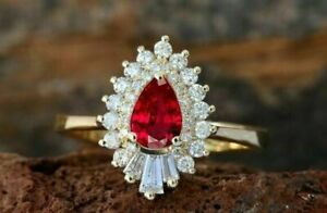 2.5 Ct Pear Ruby & Sim Diamond Women's Design Cocktail Ring 14k Yellow Gold Over