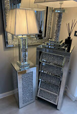 Brand New Boxed Crushed Diamond Mirror Side / Lamp Table