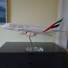 Huge 1/100 Airbus A380 Emirates Airlines Plane Model Acrylic Chrome/ Wood Stand