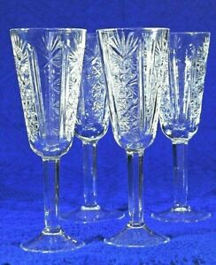 Singing Lead Crystal 4 Glasses Stemmed 5 oz. Champagne Wine Vintage Soviet USSR