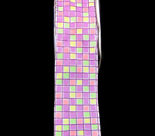 """5 Yards Mod Art Deco Squares Geometric Wired Ribbon 1 1/2""""W [ YOU CHOOSE COLOR ]"""