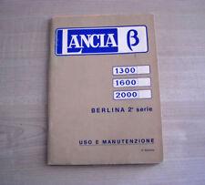 Lancia Beta berlina 2a serie 1300 1600 2000 Libretto Uso e Manutenzione 1977