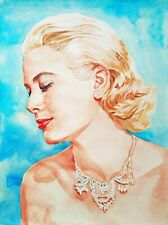 "11.69 × 15.75"" Grace Kelly watercolor SIGNED and DATED"