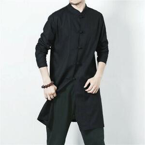 Men Kung Fu Jacket Chinese Tang Suit Shirt Mandarin Collar Retro Martial Art