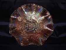 Carnival Glass Bowl, 8 inch diameter, Iridescent Orange, Grape and Leaf Design